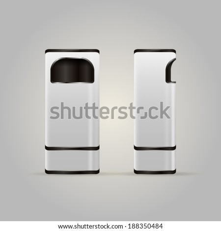 Illustration of dustbins. White modern dustbins with black elements and mesh for butts. Two isolated vector illustrations on white. - stock vector