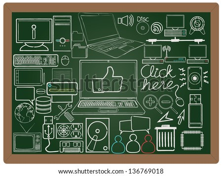 illustration of e business, website, computer design icon element collection set written on blackboard background vector, eps10 - stock vector