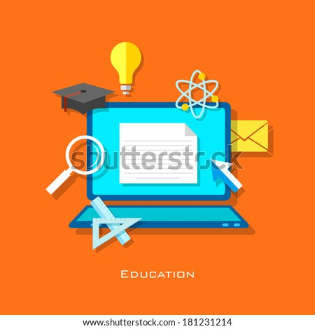 illustration of e learning concept in flat style - stock vector