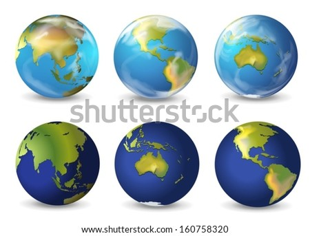 Illustration of earth on a white background - stock vector