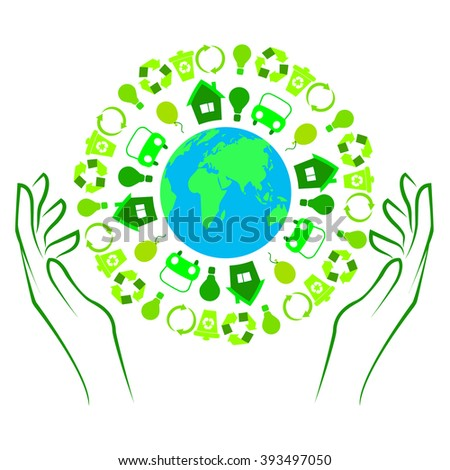 Illustration of Earth with green icons and holding hands
