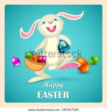 illustration of Easter bunny holding basket with colorful egg - stock vector