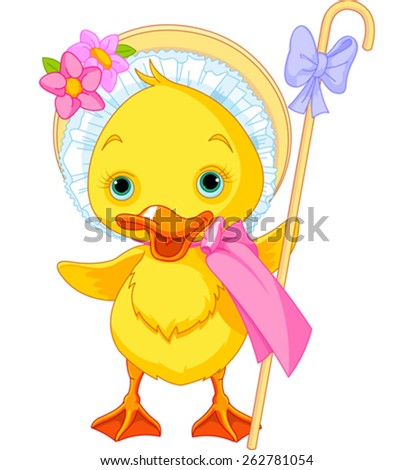 Illustration of Easter Duckling with shepherdess staff - stock vector