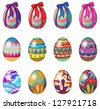Illustration of easter eggs with designs and ribbons on a white background - stock vector