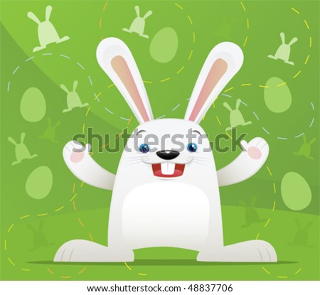 Illustration of Easter Rabbit with green background