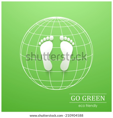 Illustration of eco friendly footprints on green background - stock vector