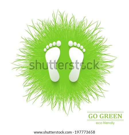 Illustration of eco friendly footprints on green grass - stock vector