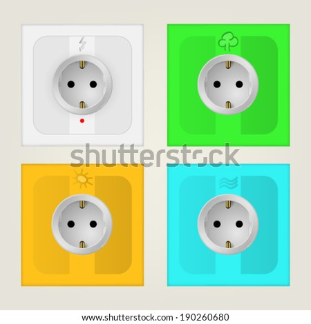 Illustration of eco sockets. Set of colored square sockets. Four isolated vector illustration on white. - stock vector