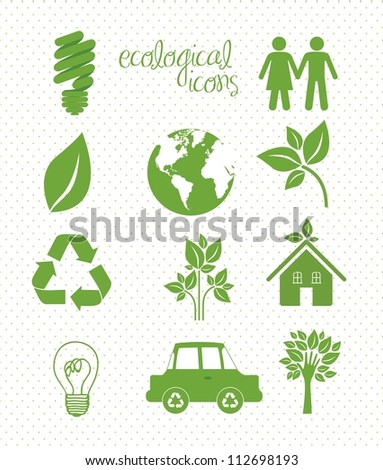 illustration of ecological icons over white  background, vector illustration