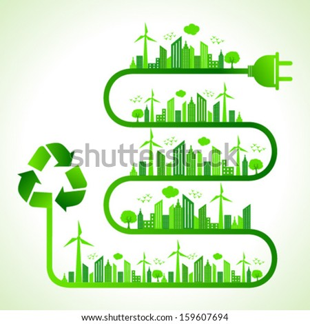 Illustration of ecology concept with recycle icon- save nature - stock vector