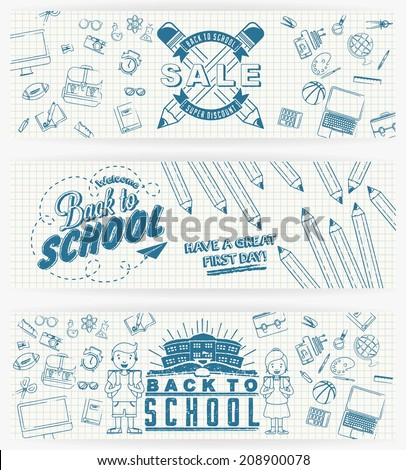 Illustration of education and back to school banner set, knowledge design icon element collection set written on paper, vector set - stock vector