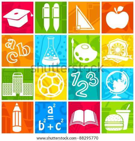 illustration of education icon on colorful background - stock vector