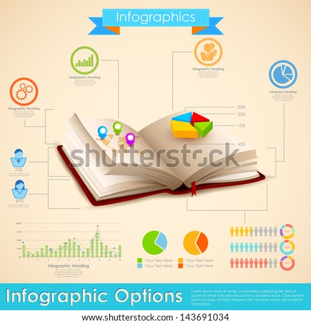 illustration of education infographic in open book - stock vector