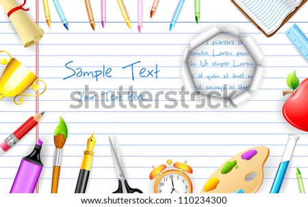 illustration of education object on paper with hole - stock vector