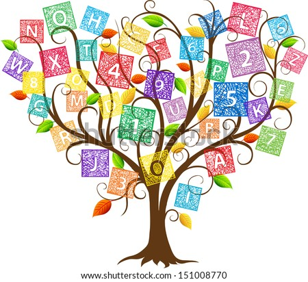 Illustration of education tree with letters and numbers