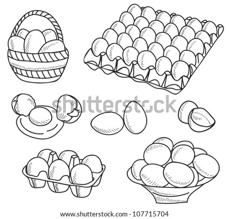 Illustration of eggs - hand drawn picture - stock vector