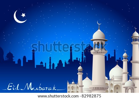 illustration of eid mubarak card with mosque in night view - stock vector