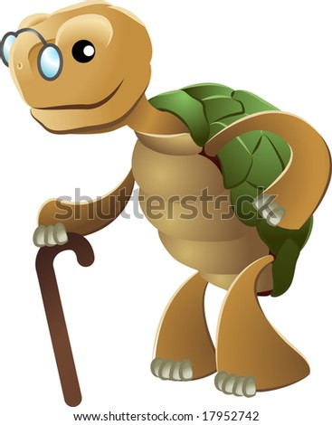 Illustration of elderly tortoise wearing eyeglasses and holding walking cane