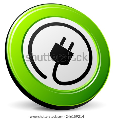 illustration of electric plug design green icon - stock vector