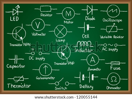 Illustration of electrical circuit symbols drawn on chalkboard - stock vector