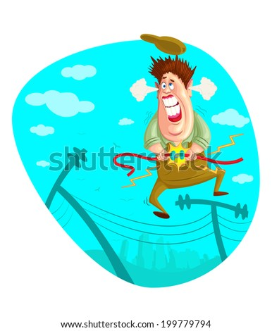 illustration of electrician fixing wire in vector - stock vector