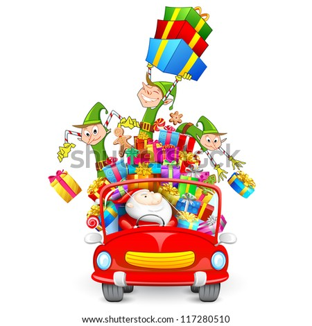 illustration of Elf throwing Christmas gifts from car with Santa Claus - stock vector