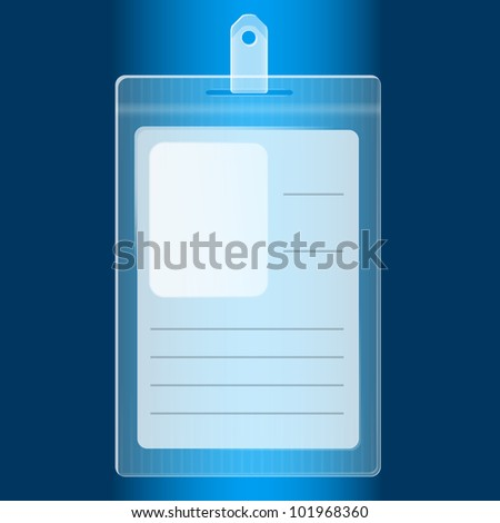 Illustration of empty blue plastic badge