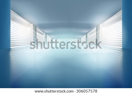 Illustration of empty hall. Vector illustration.