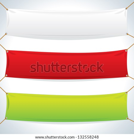 Illustration of Empty Textile Banners. Vector Objects Isolated on White Background - stock vector