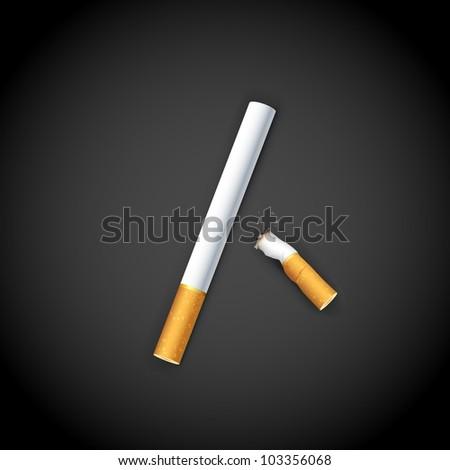 illustration of end of burning cigarette on dark background - stock vector