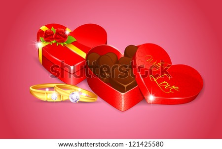 illustration of engagement ring with chocolate in heart shape box - stock vector