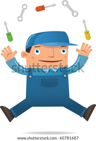 Illustration of Engineer Juggling using tools - stock vector