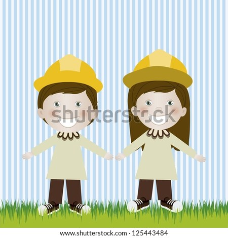 Illustration of engineer man and woman, in cartoon style and sketch, vector illustration - stock vector