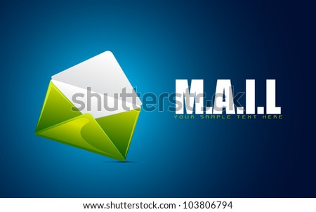 illustration of envelope on abstract background showing mail - stock vector