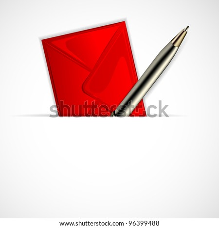 illustration of envelope with pen on white background - stock vector