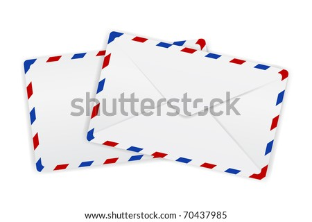 illustration of envelopes with borders kept on isolated background - stock vector