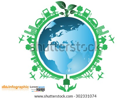Illustration of environment around the earth. Abstract ecology connection concept background with icons for eco friendly, energy,  Illustration of environment around the earth