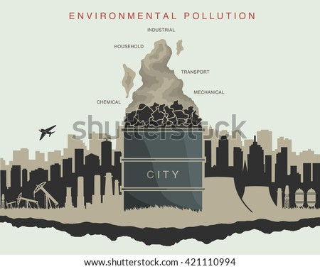 illustration of environmental pollution in the city - stock vector