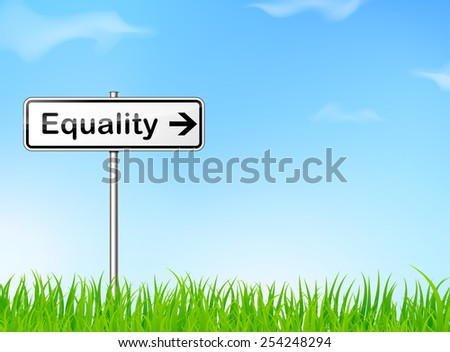 illustration of equality sign on nature background - stock vector
