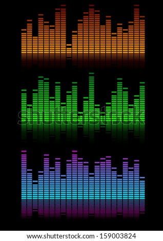illustration of equalizer visualisations, symbol for music and sound - stock vector