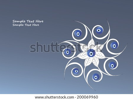 Illustration of Evil eye bead amulets on flower. It is a stone that is believed to protect the wearer against an evil eye mainly in the mediterranean countries such as Turkey and Greece. - stock vector