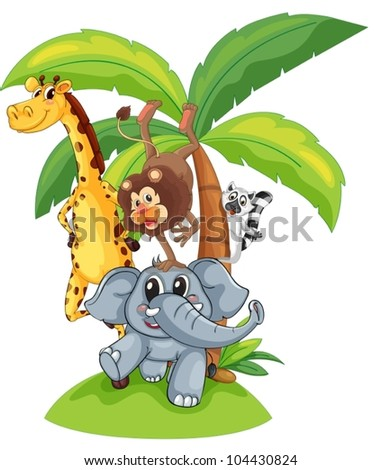 Illustration of exotic animals in a group - stock vector