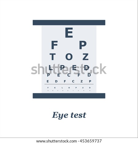 illustration of Eye test chart. Vector. Optician, ophtalmology, vision correction for eye care and eye diagnostic