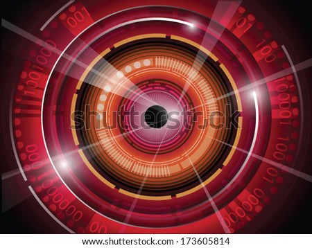 illustration of eyeball with technology background - stock vector