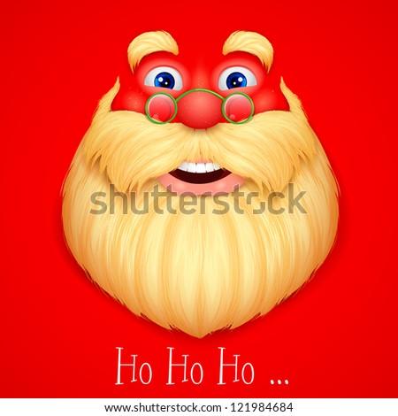illustration of face Santa Claus singing ho ho ho wishing Merry Christmas - stock vector