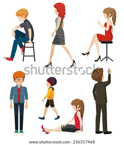 Illustration of faceless people in different poses - stock vector
