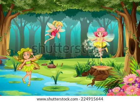 Illustration of fairies flying in the jungle - stock vector