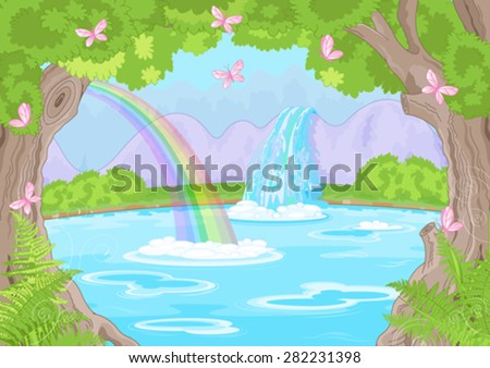 Illustration of fairy landscape with Fabulous Waterfall - stock vector