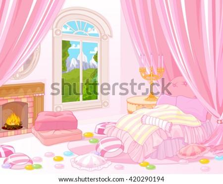 Illustration of fairytale bedroom - stock vector