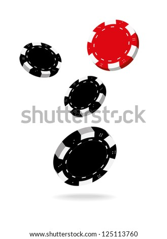 Illustration of Falling Black and Red Poker Chips Isolated on White Background. - stock vector
